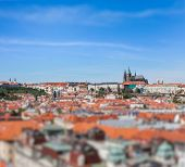 View of Stare Mesto (Old City) and and St. Vitus Cathedral from Town Hall with tilt shift toy effect