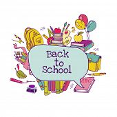 Back to School Set - school supplies, hand-drawn doodles in vector