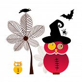 Halloween owl with friends  elements