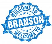 Welcome To Branson Blue Vintage Isolated Seal