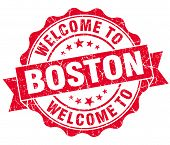 Welcome To Boston Red Vintage Isolated Seal