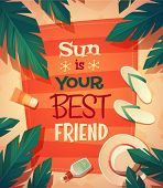 Summer beach card \ poster design. Vector illustration