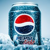 MOSCOW, RUSSIA-APRIL 4, 2014: Can of Pepsi cola on ice. Pepsi is a carbonated soft drink that is pro