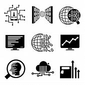 data analysis, network icons