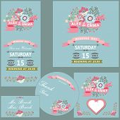 Cute Wedding Design  Template Set With Flowers