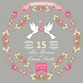 Cute Wedding Invitation With Pigeons And Floral Frame