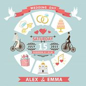 Wedding Invitation In Infographic Style. Bride,groom On Retro Bicycle