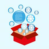 Cold surprise in box vector background