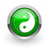 ying yang green glossy web icon