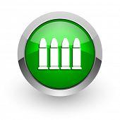 ammunition green glossy web icon