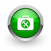 toolkit green glossy web icon