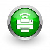 printer green glossy web icon