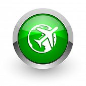 travel green glossy web icon