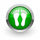 foot green glossy web icon