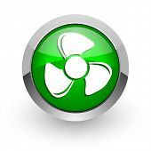 fan green glossy web icon