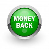 money back green glossy web icon