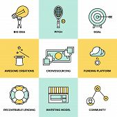 picture of social system  - Flat line icons set of crowd funding service investing platform for creative project development of small business startup model and community ideas - JPG