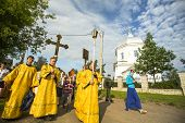 TIKHVIN, RUSSIA - JULY 9, 2014: Unidentified participants Orthodox Religious Procession on the occas