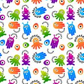 Monster and alien pattern design. Vector illustration