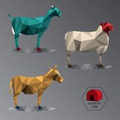 Colour Full Geometric Illustration Of Medium Farm Animals - Triangle Polygons Gradient