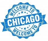 Welcome To Chicago Blue Vintage Isolated Seal