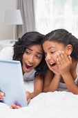 Surprised mother and daughter using tablet together at home in bedroom