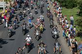 JULY 20: motorcycle parade in the streets at the XXXIII - International Motorcycle Meeting in Faro,