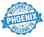 Welcome To Phoenix Blue Vintage Isolated Seal