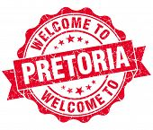 Welcome To Pretoria Red Vintage Isolated Seal