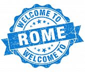 Welcome To Rome Blue Vintage Isolated Seal