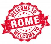 Welcome To Rome Red Vintage Isolated Seal