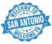 Welcome To San Antonio Blue Vintage Isolated Seal