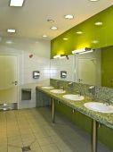 stock photo of lavabo  - the fresh public comfort station closeup interior - JPG