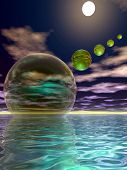 image of descending  - 3d rendered image of spheres descending into the sea at night - JPG