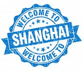 Welcome To Shanghai Blue Vintage Isolated Seal