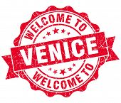 Welcome To Venice Red Vintage Isolated Seal