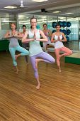 Smiling yoga class in tree pose in fitness studio at the leisure center