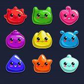 stock photo of monsters  - Cute cartoon jelly monsters on the dark background - JPG