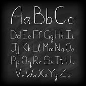 Chalk board hand drawn alphabet.