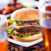 image of chicken wings  - burger with beer glasses and chicken wings - JPG