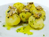 Boiled Potatoes With Clams And Olive Oil Vinaigrette.