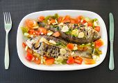 Grilled Snappers With Mediterranean Tomato Salad. Typical Mediterranean Dish.