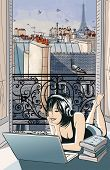 Young woman entertaining with computer in front of an open window on the roofs of Paris -  vector il