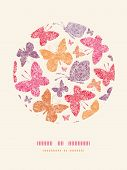 Floral butterflies circle decor pattern background