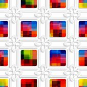 Colorful Squares And White Flowers Seamless Pattern
