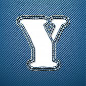 Denim jeans letter Y - vector illustration