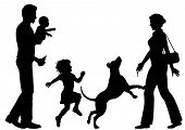 Editable vector silhouettes of a woman welcomed home by husband, children and dog with all figures a