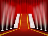 Red carpet and stair for rewarding ceremony