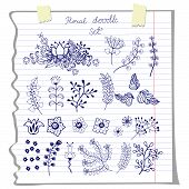 Vector doodles  flowers  on school notebook