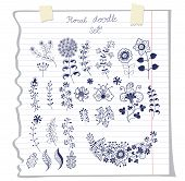 Vector outline doodles  flowers  on school notebook